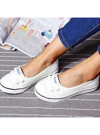 Női Vászon Lapos sarok Lakások Kerek lábujj Slip On -Val Lace-up cipő