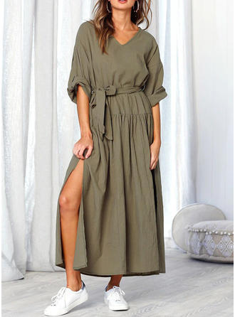 Solid Long Sleeves A-line Maxi Casual Dresses
