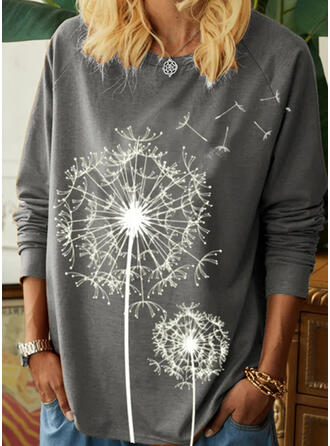 Print Round Neck Long Sleeves T-shirts (1044356633)
