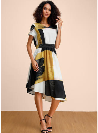 Print/Color-block Short Sleeves A-line Midi Casual/Elegant Dresses