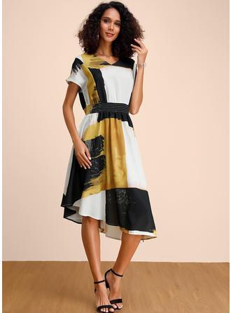 Nadrukowana/Wyszczuplająca Krótkie rękawy W kształcie litery A Midi Casual/Elegancki Sukienki