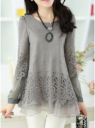 Chiffon Round Neck Lace Long Sleeves Casual Blouses