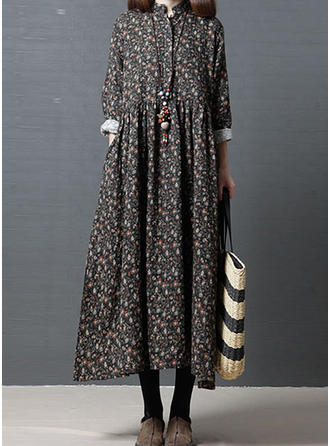 Print Long Sleeves Shift Midi Casual Dresses