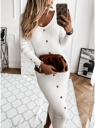 Solid Long Sleeves Bodycon Pencil Casual Midi Dresses