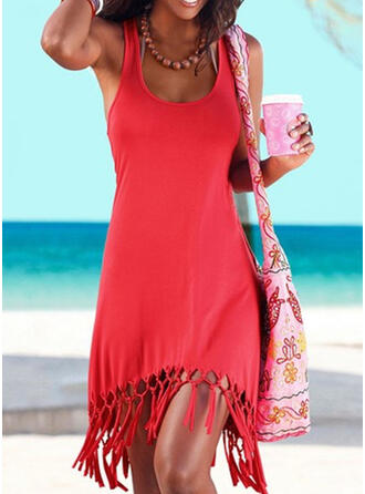 Solid Color Strap U-Neck Sexy Boho Cover-ups Swimsuits