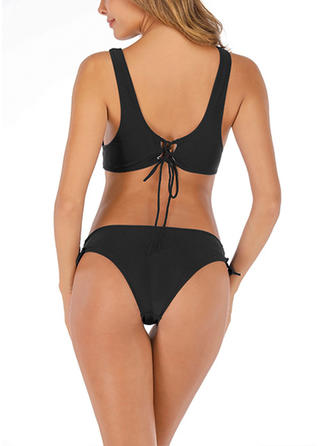 Solid Color Strap Fashionable Bikinis Swimsuits