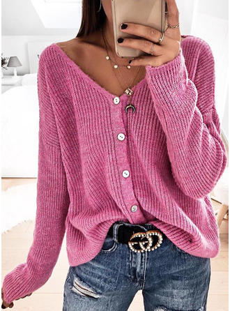 Solid Ribbed V-Neck Long Sleeves Casual Blouses