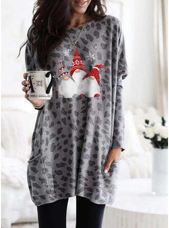Print Leopard Round Neck Long Sleeves Christmas Sweatshirt