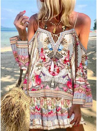 Print/Floral Long Sleeves/Cold Shoulder Sleeve Shift Above Knee Casual/Boho/Vacation Dresses