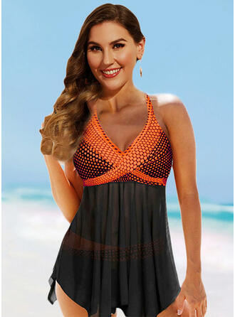 Dot Cross Halter V-Neck Beautiful Sports Swimdresses Swimsuits