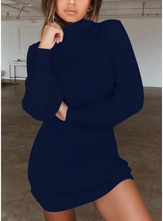 Solid Ribbed Turtleneck Sweater Dress