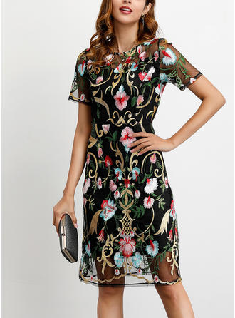 Embroidery/Floral Short Sleeves Sheath Knee Length Party/Elegant Dresses (199264011)