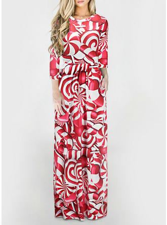 Print 3/4 Sleeves A-line Maxi Christmas/Casual Dresses