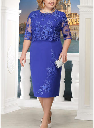 Lace/Solid 1/2 Sleeves Sheath Knee Length Party/Elegant Dresses