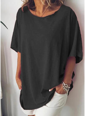 Solid Round Neck 1/2 Sleeves Casual Basic T-shirts