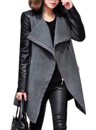 Blends Long Sleeves Patchwork Blend Coats
