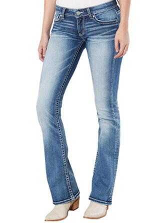 Marszczona Długo Nieformalny Długi Dżinsowa Spodnie