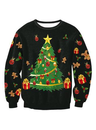 Men's Polyester Spandex Print Christmas Sweatshirt
