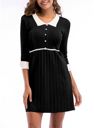 Solid 3/4 Sleeves A-line Above Knee Vintage Dresses
