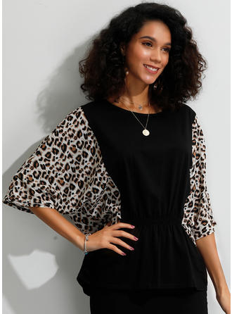 Animal Print Round Neck Batwing Sleeve 1/2 Sleeves Casual Blouses