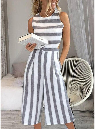 Striped Sleeveless Midi Casual Dresses