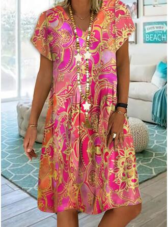 印刷 半袖 シフトドレス 膝丈 カジュアル/ボーホー/休暇 ドレス