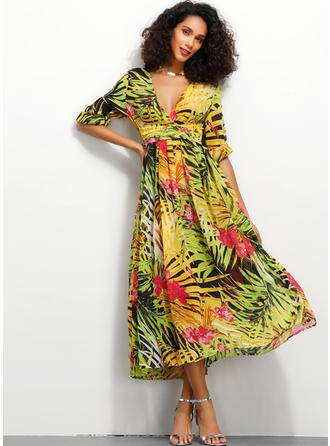 Print Long Sleeves A-line Midi Casual/Elegant Dresses