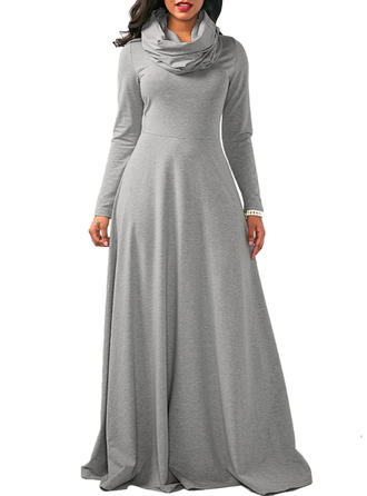 Solid Long Sleeves A-line Maxi Dresses