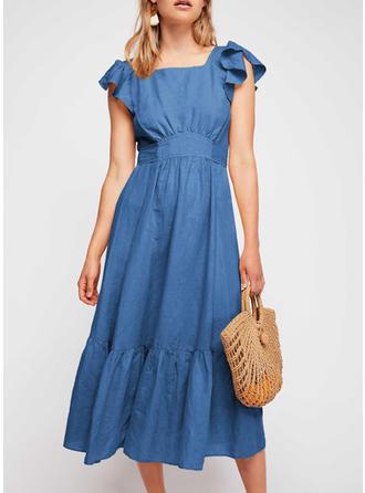 Solid Square Neck Midi A-line Dress