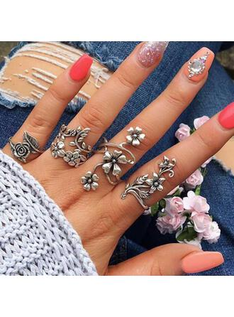 Boho Flowers Alloy Women's Ladies' Rings 4 PCS