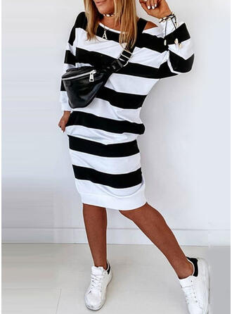 Striped Long Sleeves Sheath Knee Length Casual Dresses