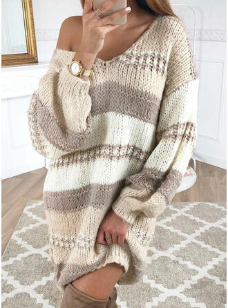 Color Block Cable-knit Chunky knit One Shoulder Sweaters
