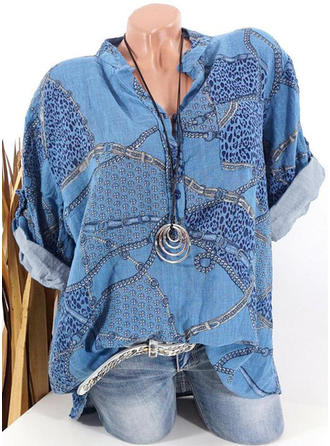 Print V Neck 1/2 Sleeves Button Up Casual Blouses