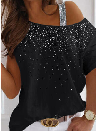 Sequins One-Shoulder Short Sleeves Casual Blouses