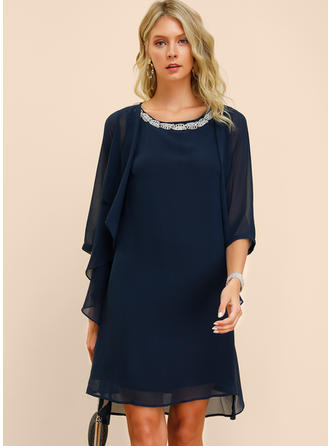 Solid 3/4 Sleeves Shift Knee Length Casual/Elegant Dresses