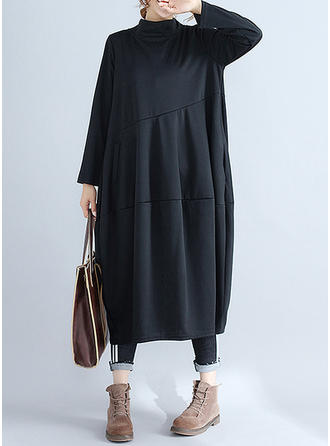 Solid Long Sleeves Shift Midi Vintage/Casual Dresses
