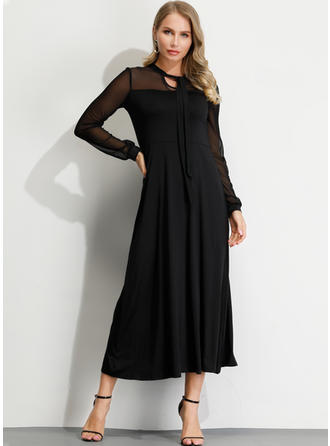 Solid Long Sleeves A-line Midi Little Black/Party/Elegant Dresses