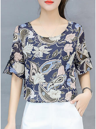 Chiffon Round Neck Floral 1/2 Sleeves Casual Blouses