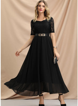 Lace/Solid Short Sleeves A-line Maxi Little Black/Party/Elegant Dresses