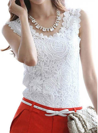 Lace Round Neck Plain Sleeveless Casual Blouses