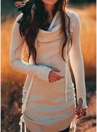Couleur Unie Manches Longues Moulante Au-dessus Du Genou Décontractée Robe Sweat Robes