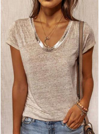 Egyszínű Kerek nyak Rövidujjú Μπλουζάκια