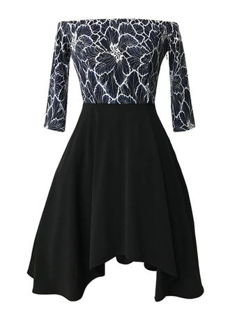 Print Long Sleeves A-line Knee Length Party Dresses