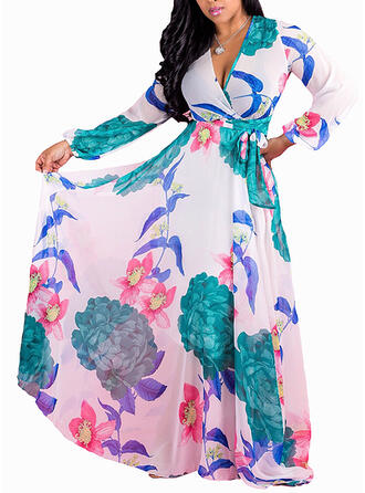 Print/Floral Long Sleeves A-line Casual/Plus Size Maxi Dresses
