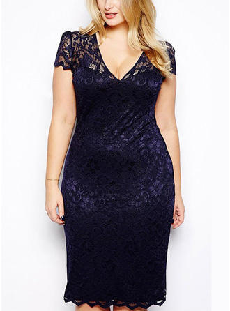 Lace Solid V-neck Knee Length Bodycon Dress