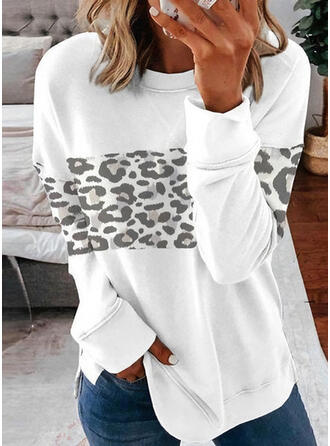 Leopard rund hals Lange ærmer Sweatshirts