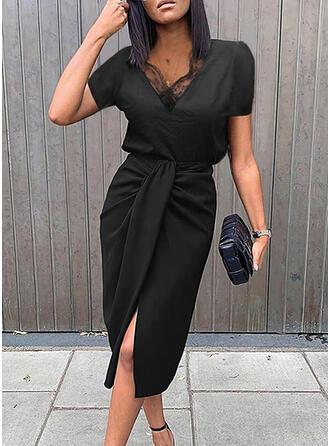 Solid Lace Short Sleeves Sheath Knee Length Little Black/Elegant Dresses