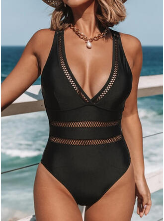 Solid Color Hollow Out Strap V-Neck Sexy One-piece Swimsuits