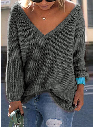 Solid V Neck Long Sleeves Casual Sexy Blouses