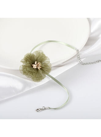 Flower Shaped Cloth Alloy Necklaces